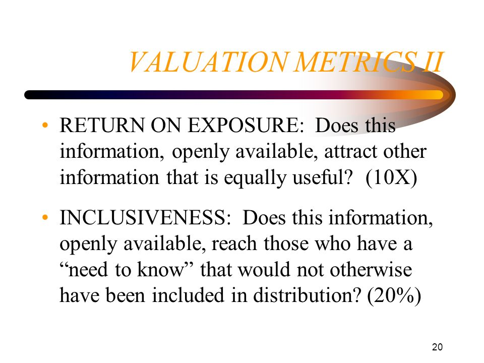 VALUATION METRICS II RETURN ON EXPOSURE: Does this information, openly available, attract other information that is equally useful (10X)