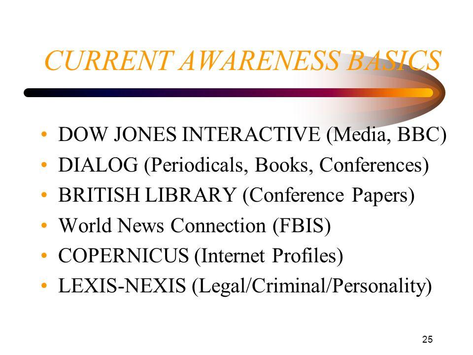 CURRENT AWARENESS BASICS