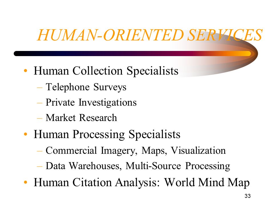 HUMAN-ORIENTED SERVICES