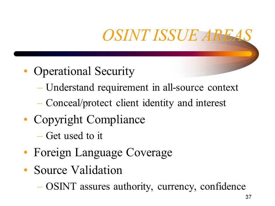 OSINT ISSUE AREAS Operational Security Copyright Compliance
