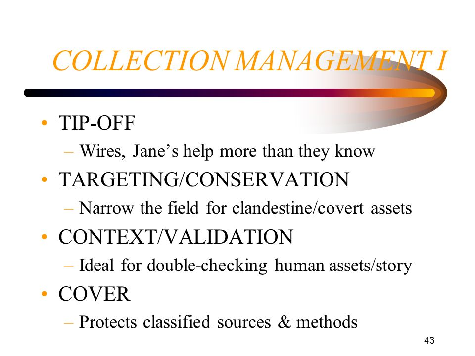 COLLECTION MANAGEMENT I