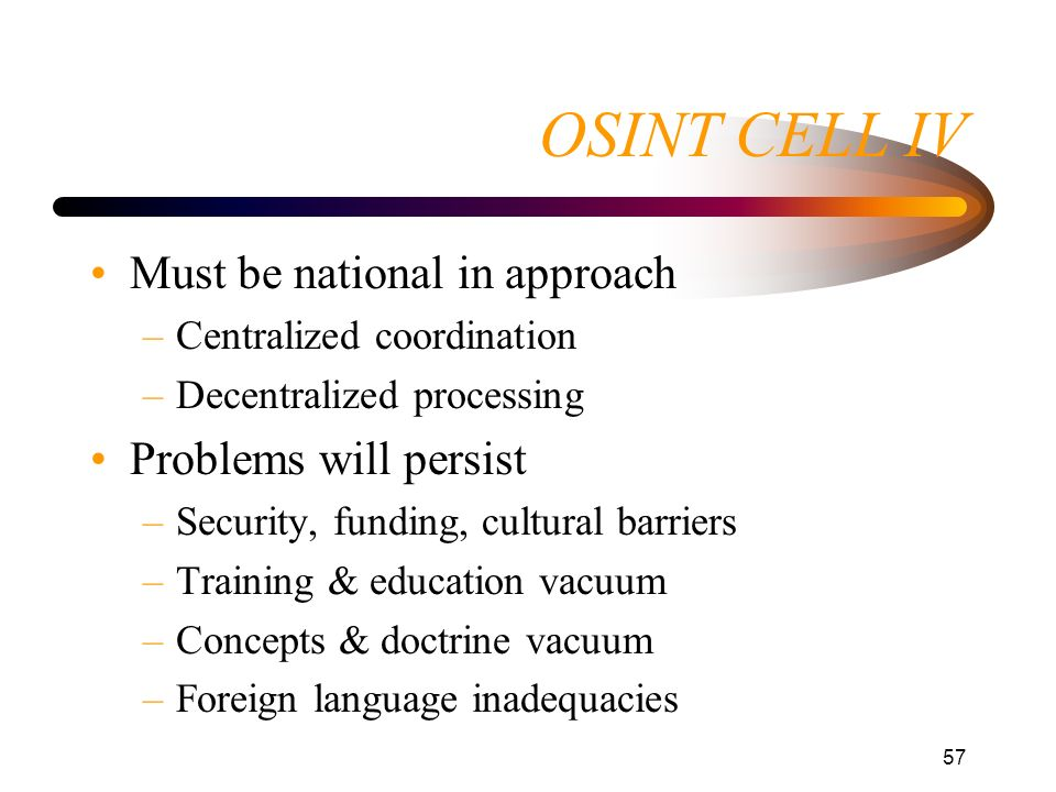 OSINT CELL IV Must be national in approach Problems will persist