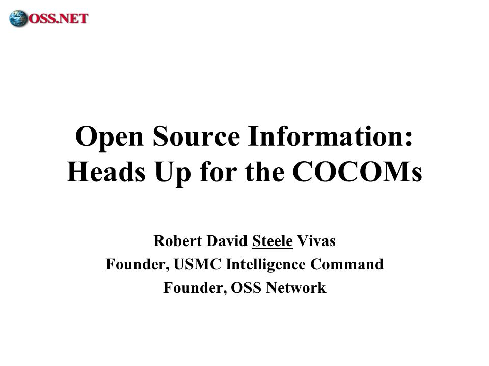 Open Source Information: Heads Up for the COCOMs