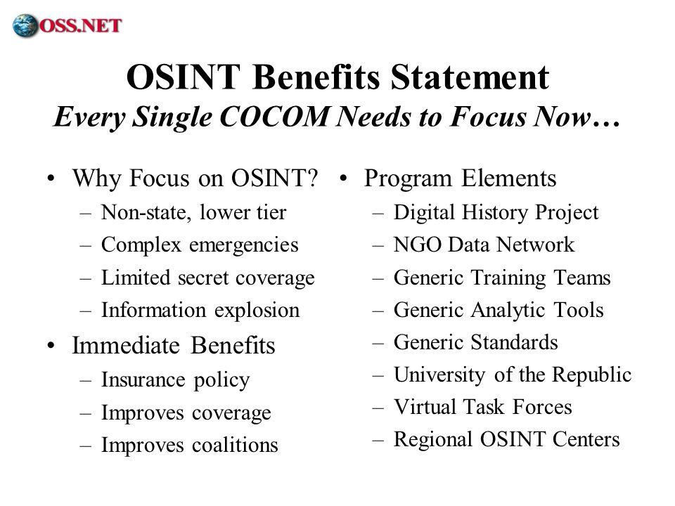 OSINT Benefits Statement Every Single COCOM Needs to Focus Now…