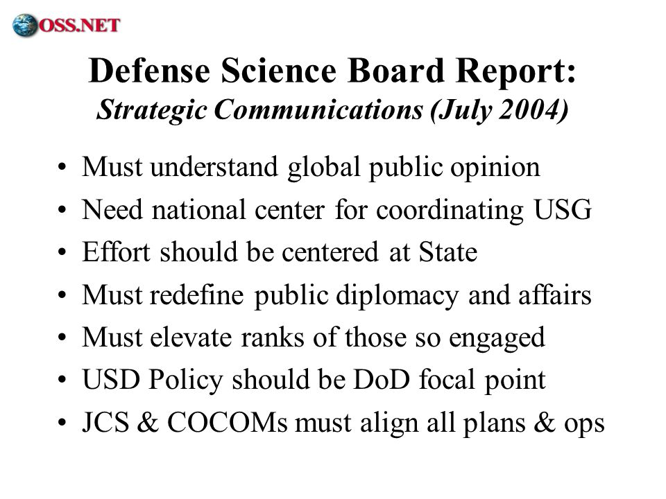 Defense Science Board Report: Strategic Communications (July 2004)