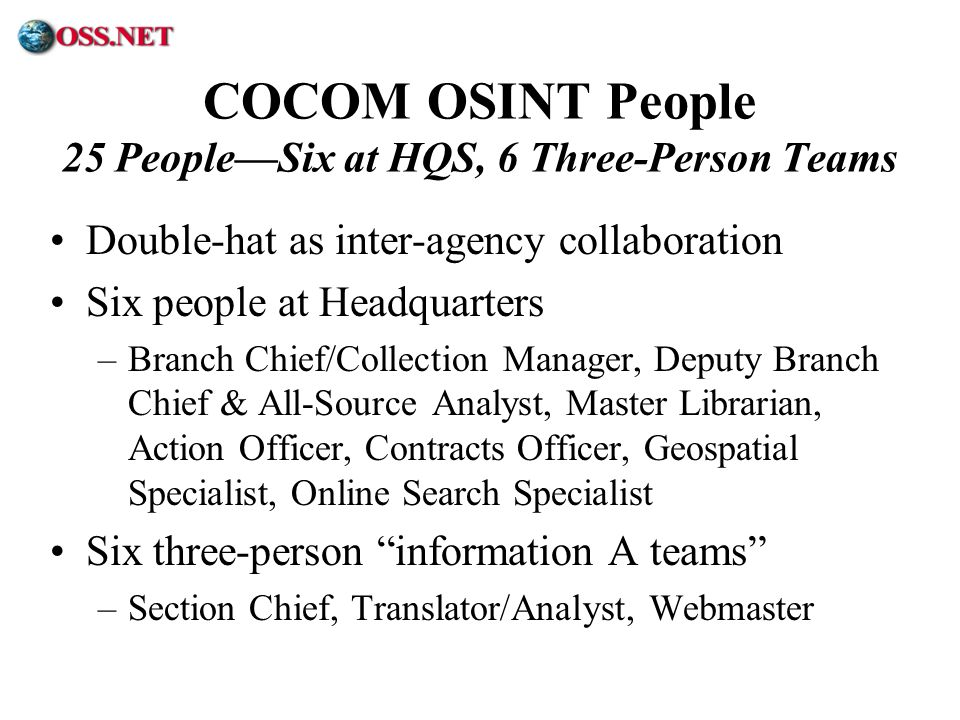 COCOM OSINT People 25 People—Six at HQS, 6 Three-Person Teams