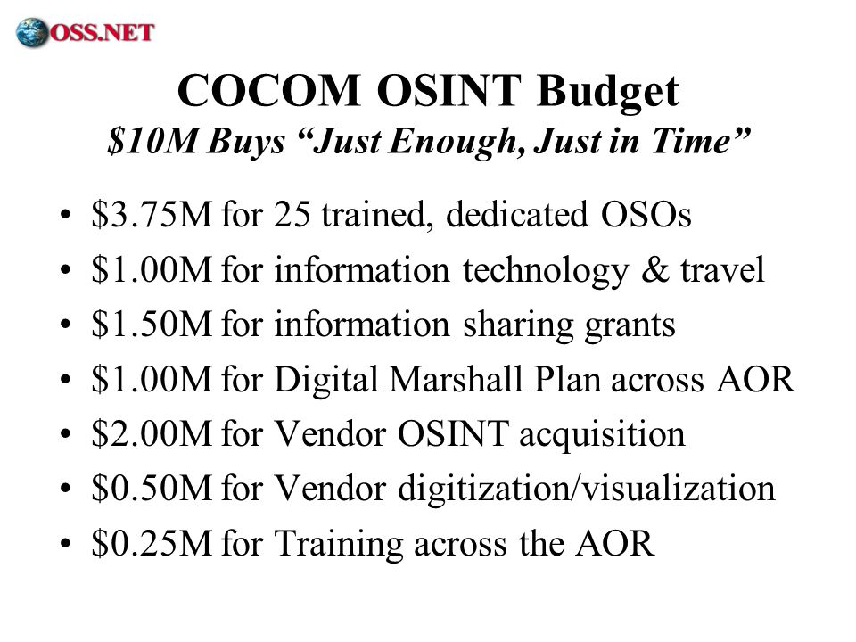 COCOM OSINT Budget $10M Buys Just Enough, Just in Time