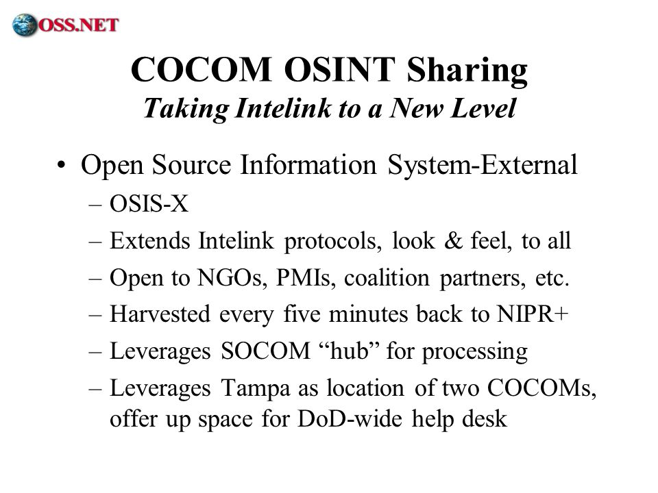 COCOM OSINT Sharing Taking Intelink to a New Level