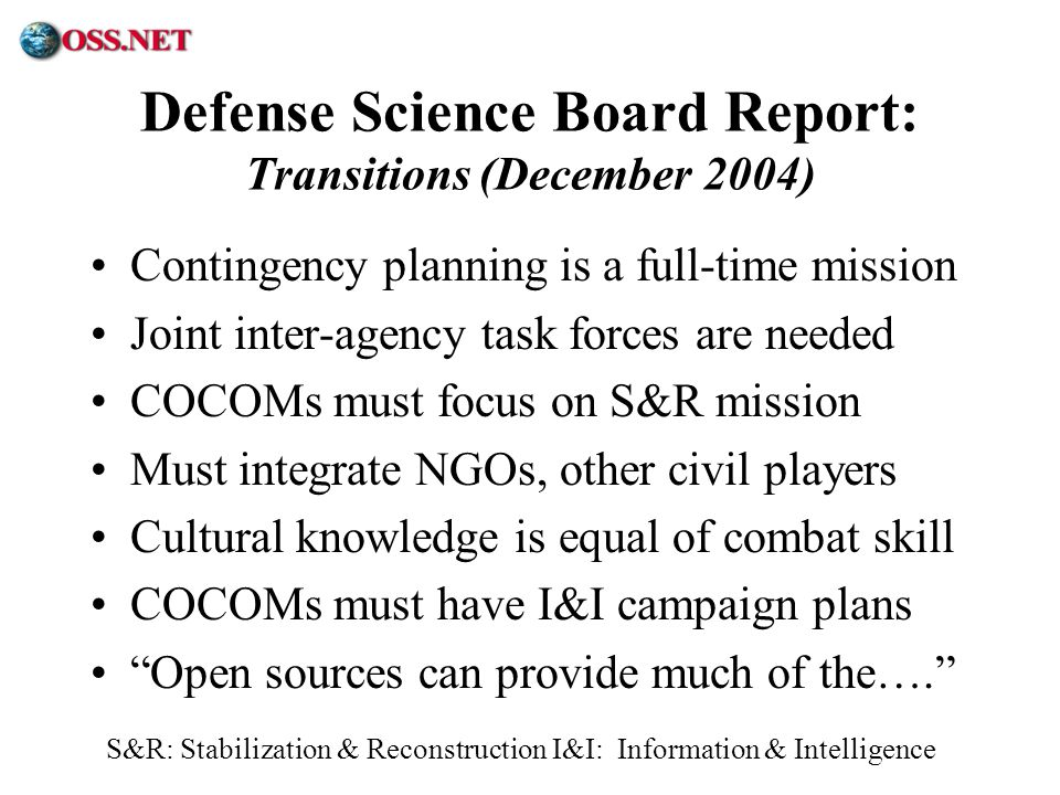 Defense Science Board Report: Transitions (December 2004)