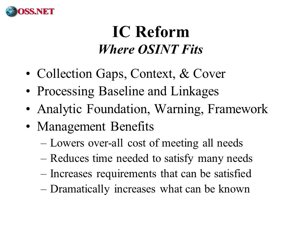 IC Reform Where OSINT Fits