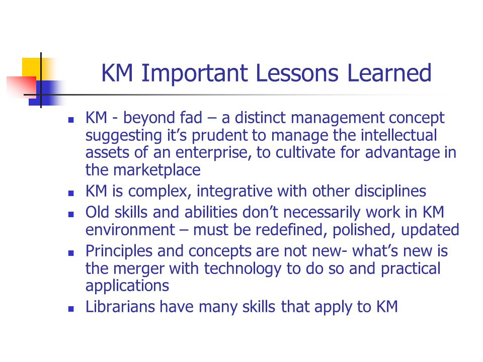 KM Important Lessons Learned