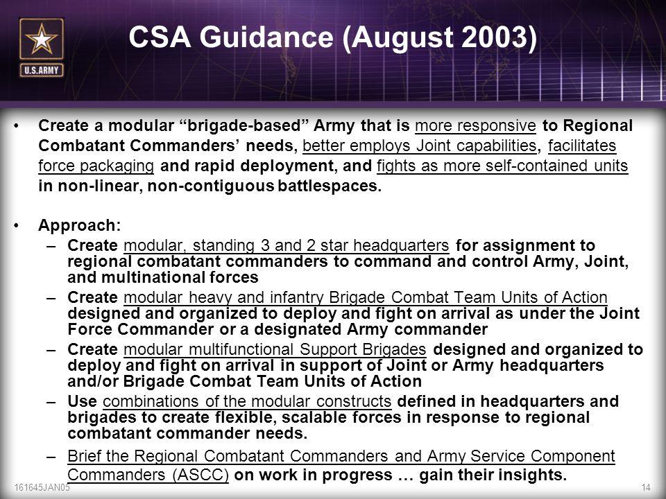 CSA Guidance (August 2003)