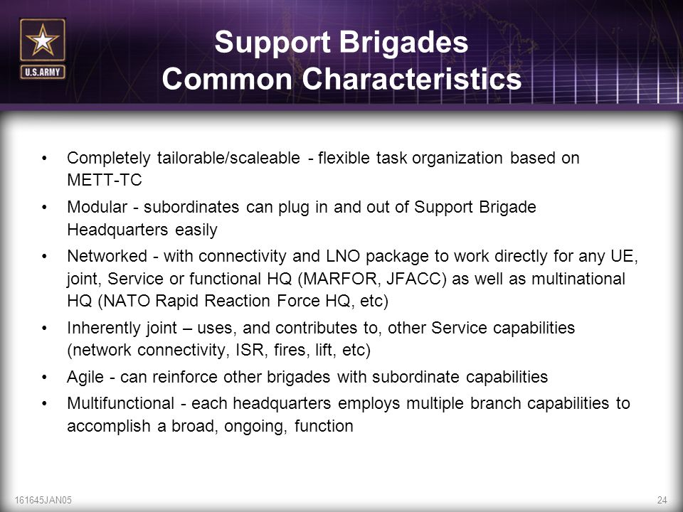 Support Brigades Common Characteristics