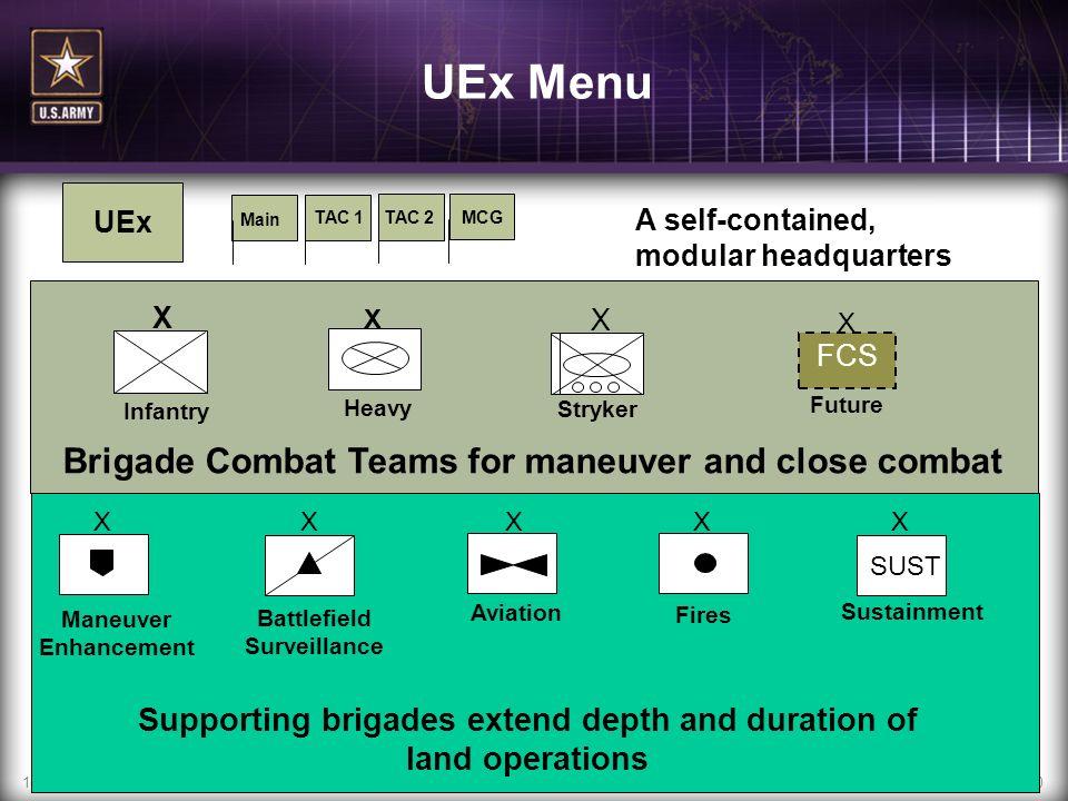 UEx Menu Brigade Combat Teams for maneuver and close combat