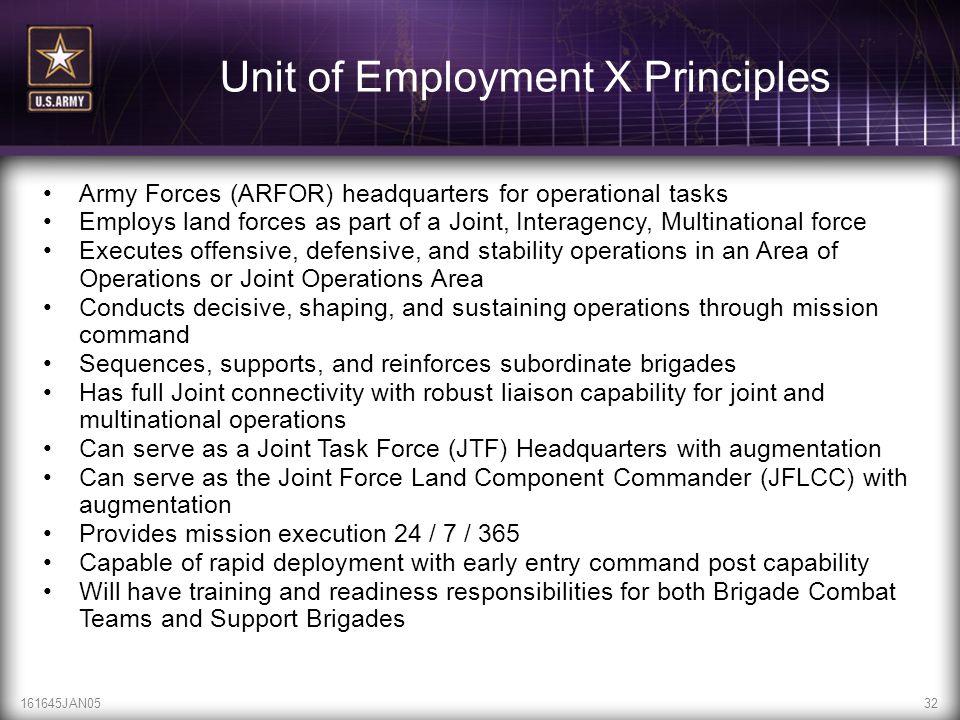 Unit of Employment X Principles