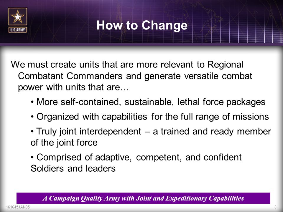 A Campaign Quality Army with Joint and Expeditionary Capabilities