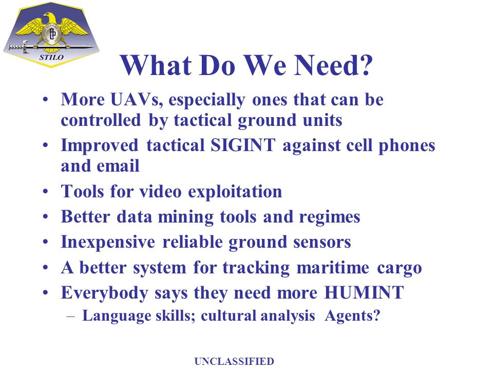 What Do We Need More UAVs, especially ones that can be controlled by tactical ground units. Improved tactical SIGINT against cell phones and email.