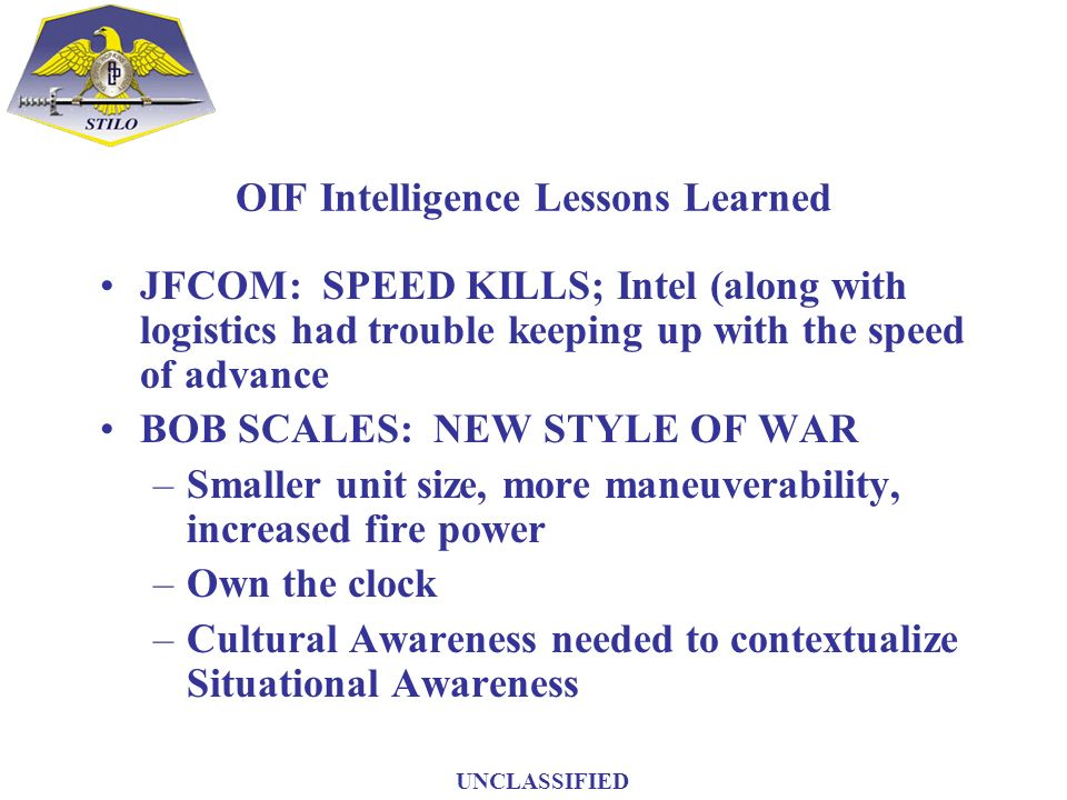 OIF Intelligence Lessons Learned