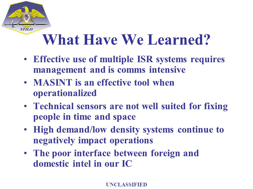 What Have We Learned Effective use of multiple ISR systems requires management and is comms intensive.