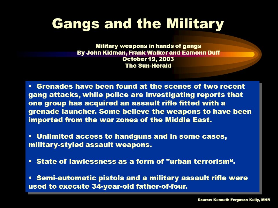 Military weapons in hands of gangs