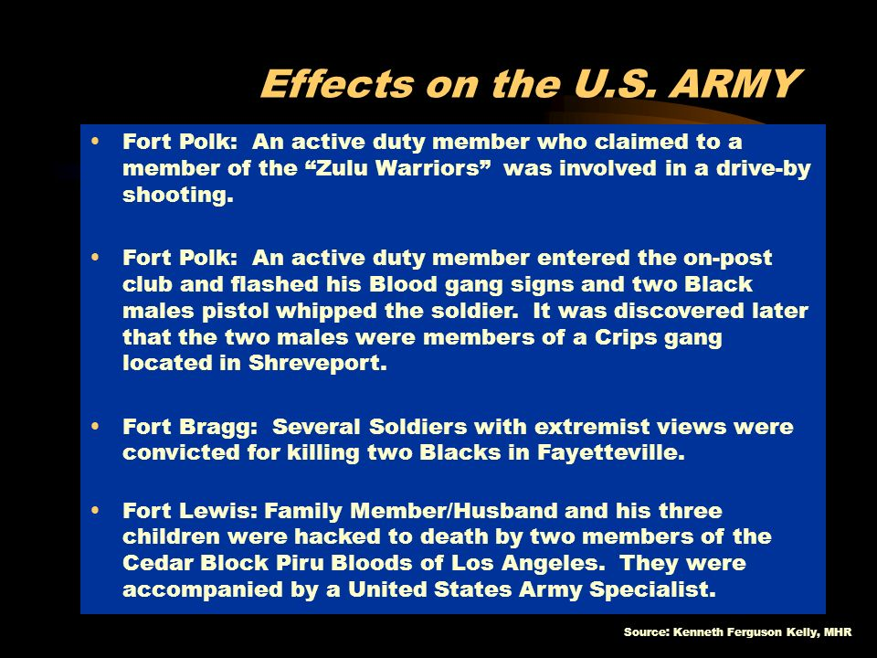 Effects on the U.S. ARMY Fort Polk: An active duty member who claimed to a member of the Zulu Warriors was involved in a drive-by shooting.