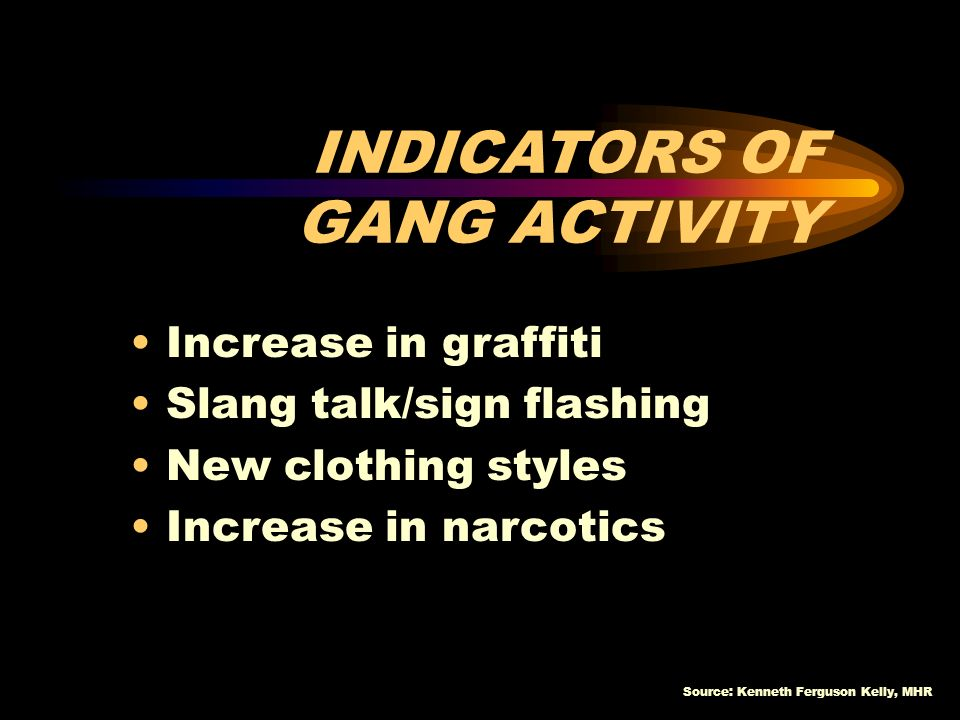 INDICATORS OF GANG ACTIVITY