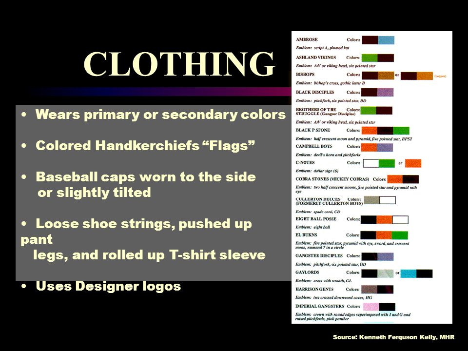 CLOTHING Wears primary or secondary colors