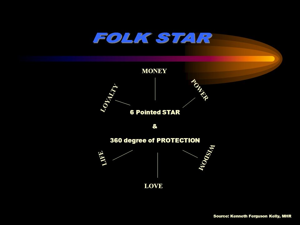 FOLK STAR MONEY POWER LOYALTY WISDOM LIFE LOVE 6 Pointed STAR &