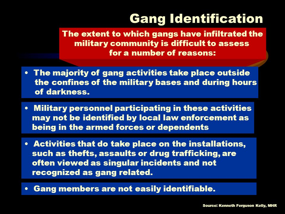 Gang Identification The extent to which gangs have infiltrated the military community is difficult to assess for a number of reasons: