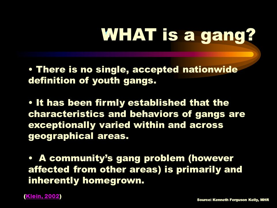 WHAT is a gang There is no single, accepted nationwide definition of youth gangs.