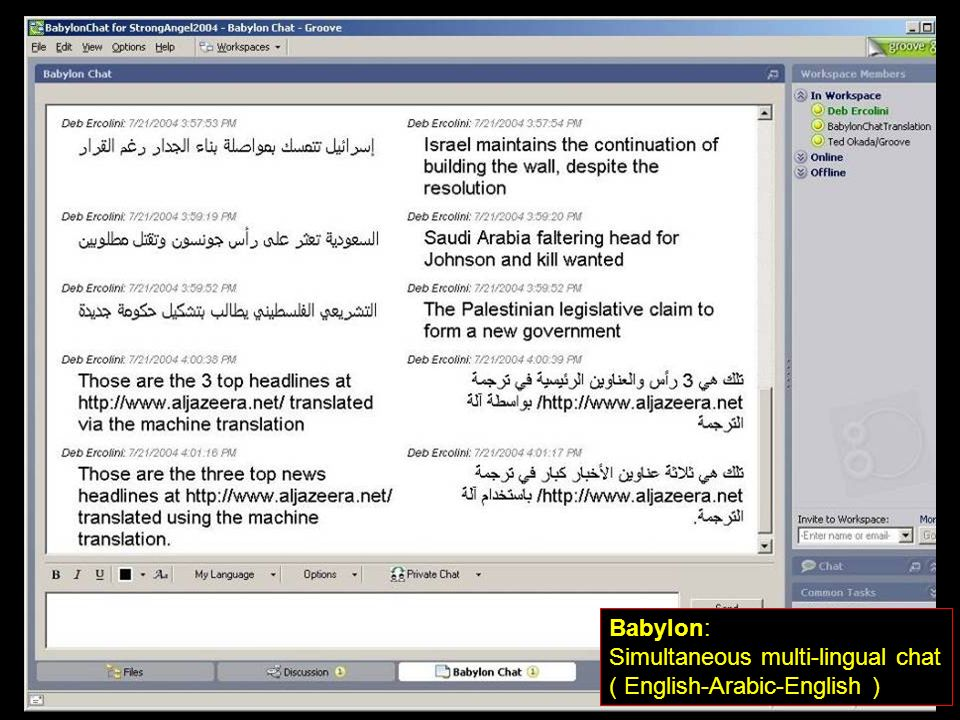 Simultaneous multi-lingual chat ( English-Arabic-English )