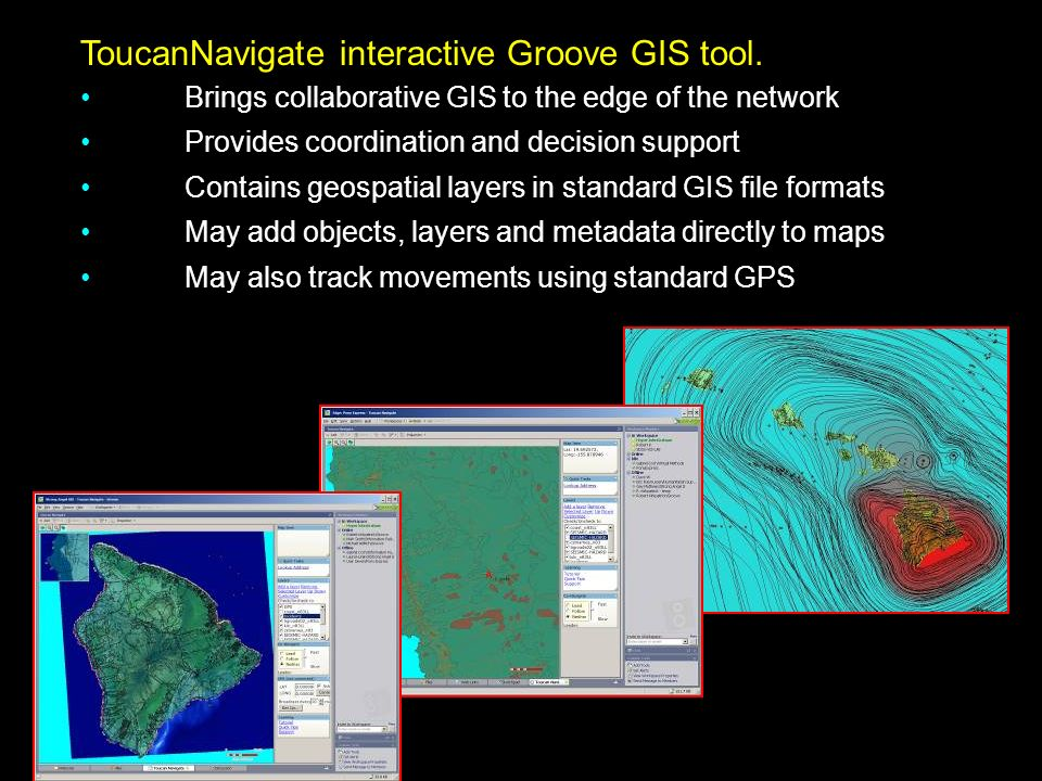 ToucanNavigate interactive Groove GIS tool.