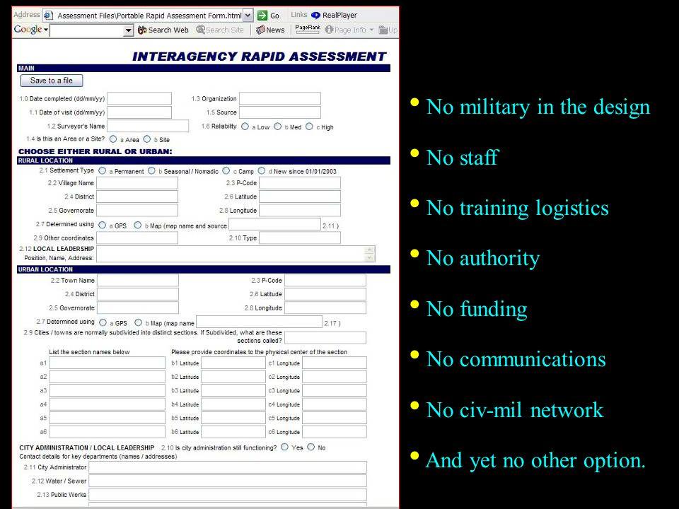 No military in the design No staff No training logistics No authority
