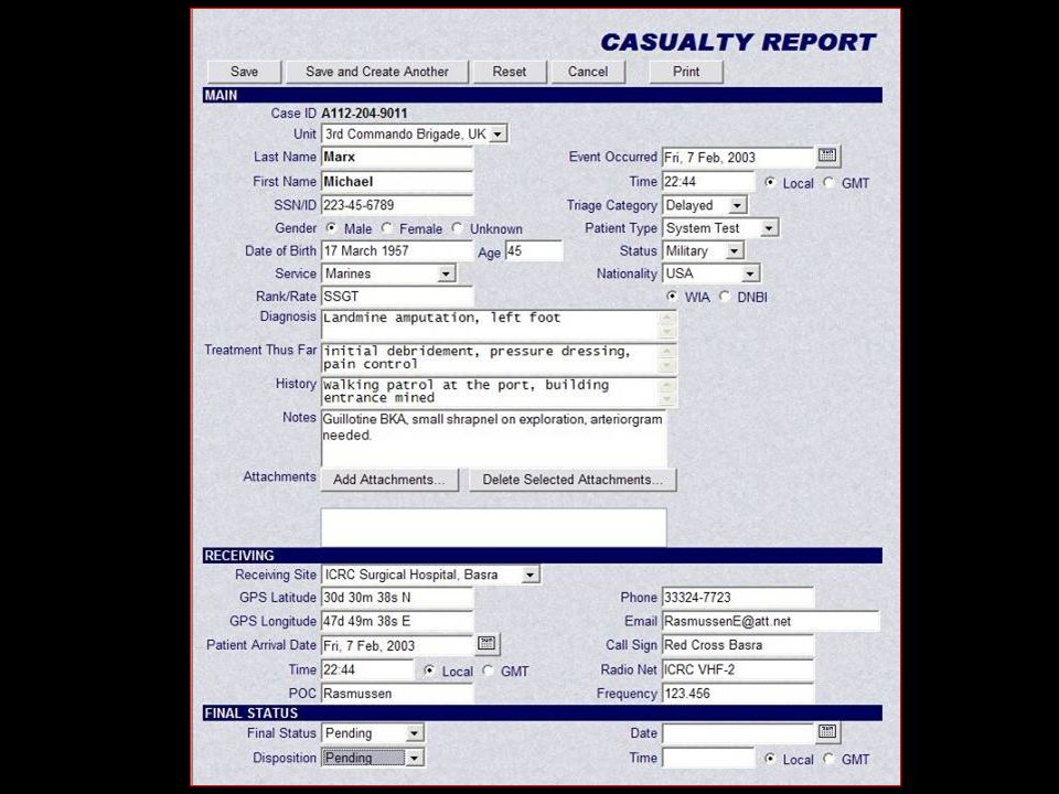 The Casualty Report designed within the collaborative software suite is designed to meet or exceed US Navy NWP-4.02 standards and NATO STANAG standards. It has been further refined and now incorporates GIS tracking as well. It is NOT military – it is, rather, for casualties of all kinds, including non-combatants needing evacuation by civilian relief agencies across complex boundaries.