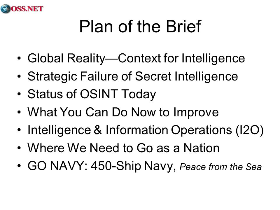 Plan of the Brief Global Reality—Context for Intelligence