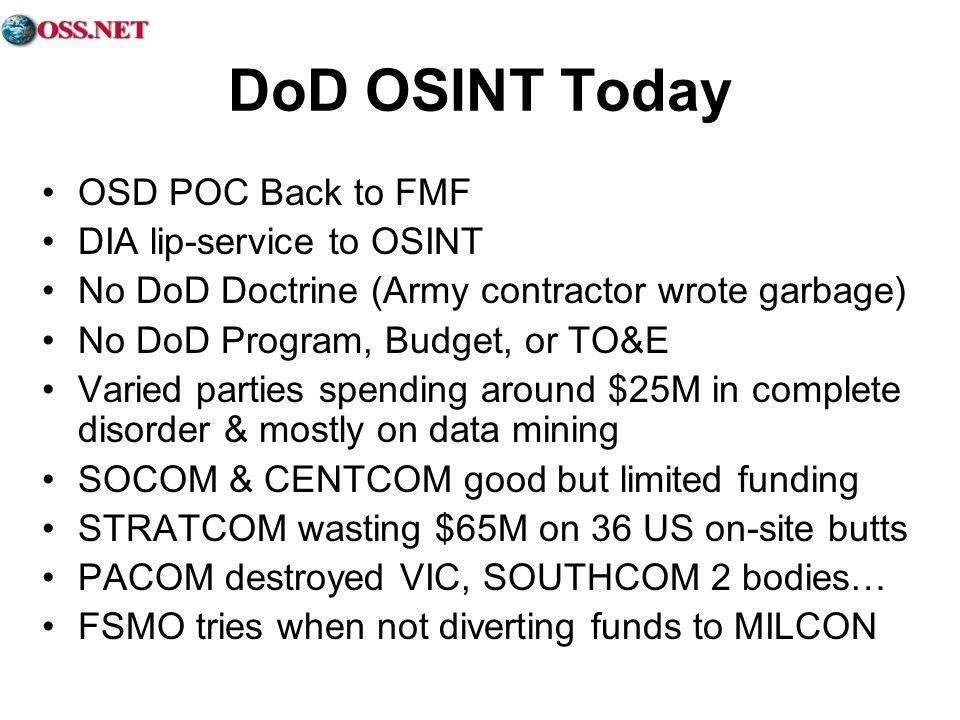 DoD OSINT Today OSD POC Back to FMF DIA lip-service to OSINT