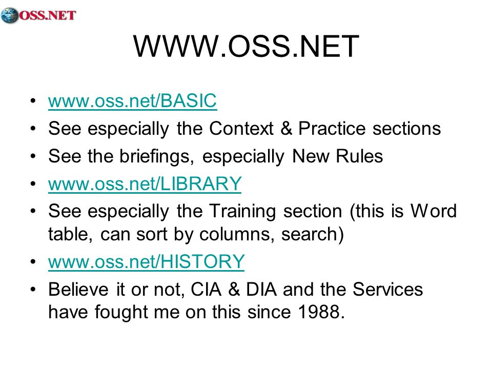 WWW.OSS.NET www.oss.net/BASIC