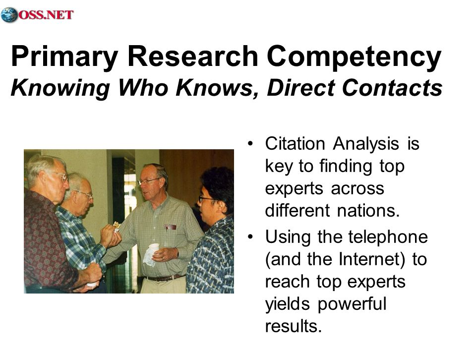 Primary Research Competency Knowing Who Knows, Direct Contacts