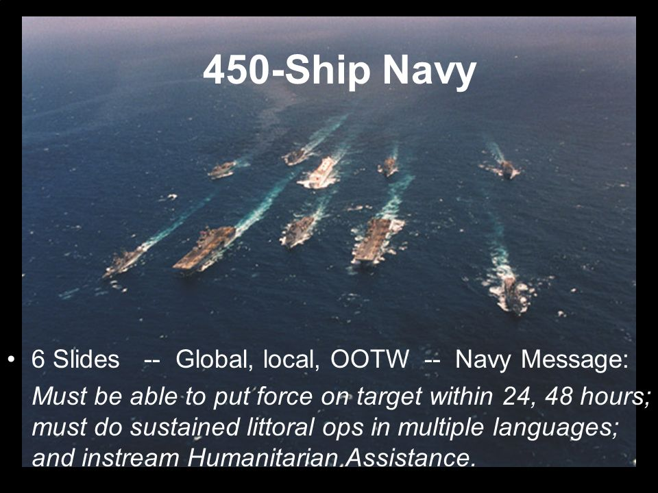 450-Ship Navy 6 Slides -- Global, local, OOTW -- Navy Message: