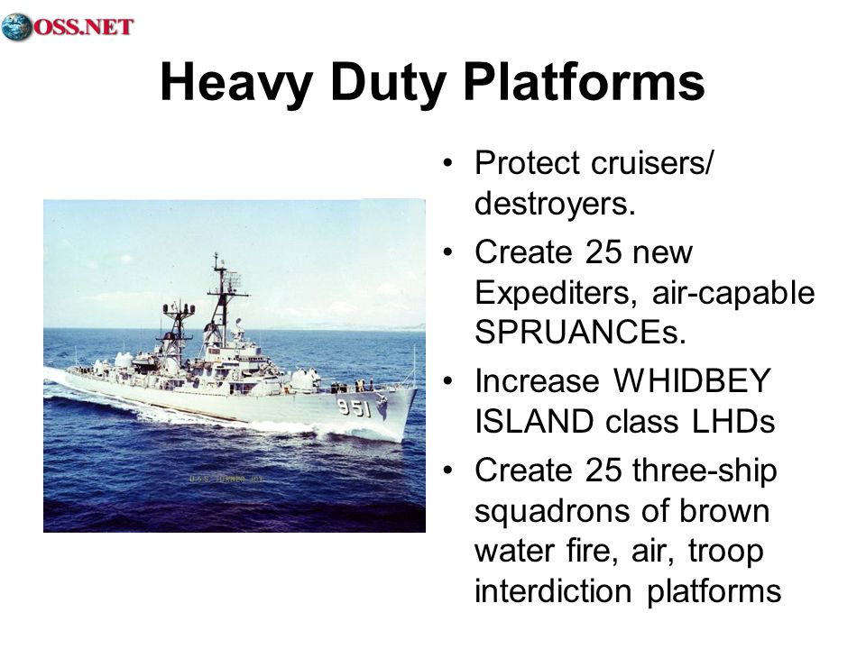 Heavy Duty Platforms Protect cruisers/ destroyers.