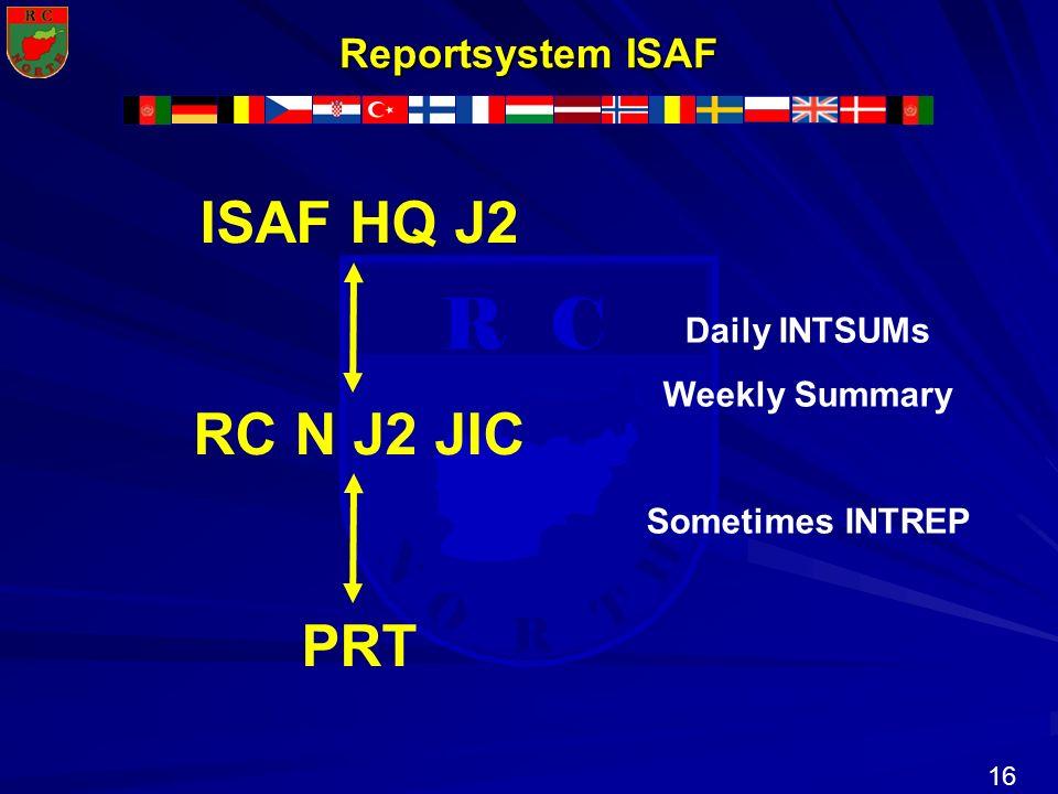 ISAF HQ J2 RC N J2 JIC PRT Reportsystem ISAF Daily INTSUMs