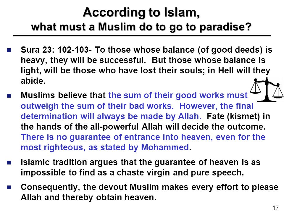 According to Islam, what must a Muslim do to go to paradise