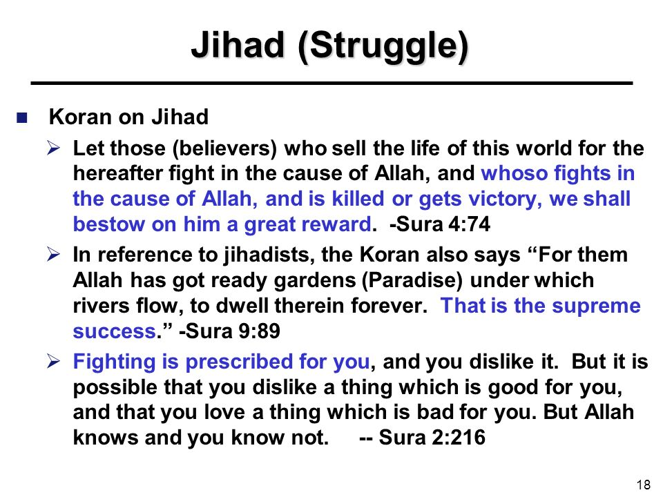 Jihad (Struggle) Koran on Jihad