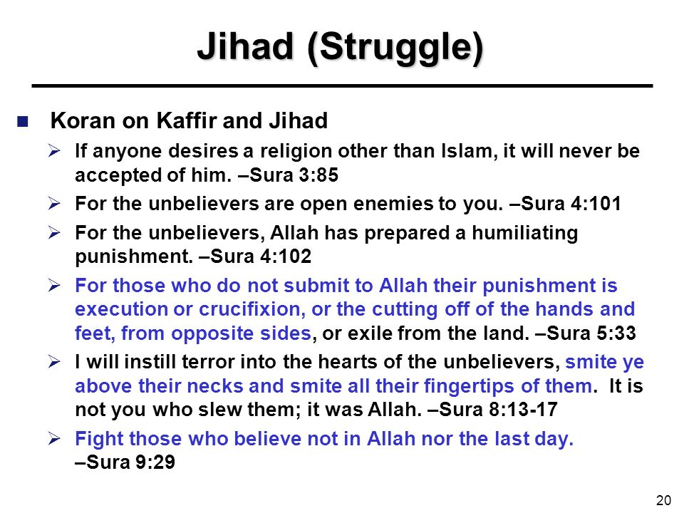Jihad (Struggle) Koran on Kaffir and Jihad