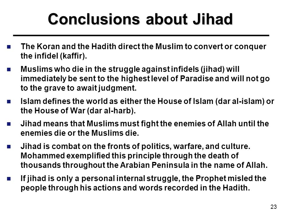 Conclusions about Jihad