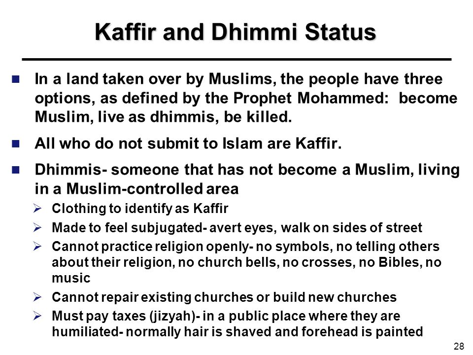 Kaffir and Dhimmi Status