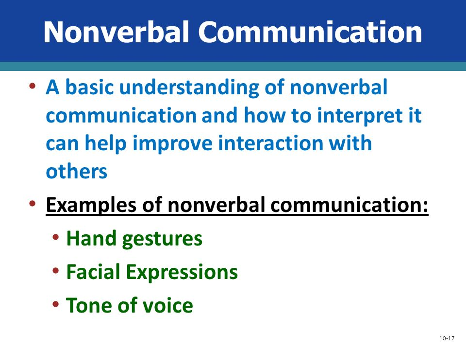 understanding nonverbal communication Non-verbal modes of communication: nonverbal communication plays an important role in creating a good impact this mode of communication just co-exists with verbal wherein it includes facial expressions, gestures, body postures and eye contact.