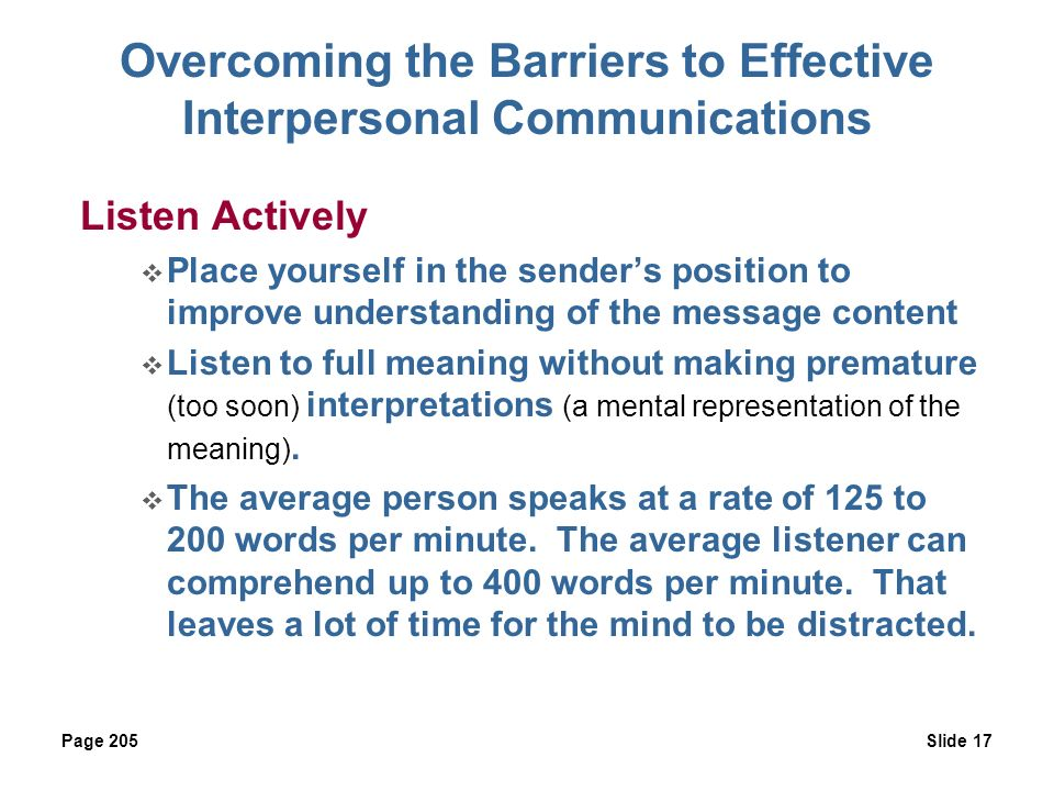 listening effective interpersonal communication Establishing and sustaining interpersonal communication a listening  to teach students to identify types of interpersonal conflict and to use effective.