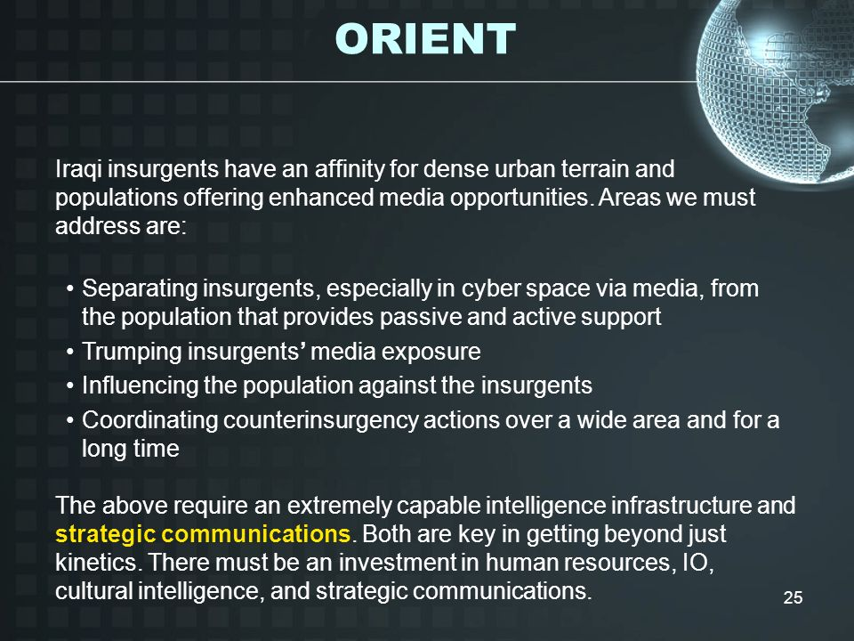 ORIENT Iraqi insurgents have an affinity for dense urban terrain and populations offering enhanced media opportunities. Areas we must address are: