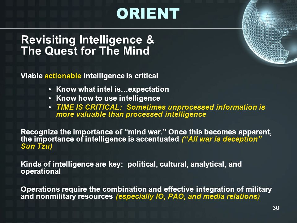 ORIENT Revisiting Intelligence & The Quest for The Mind